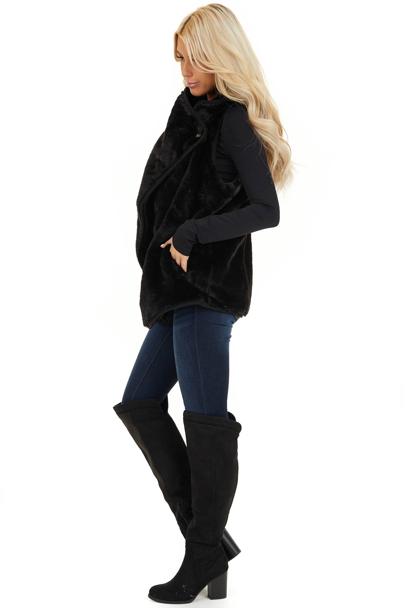 Black Furry Vest with Overlap and Button Detail side full body