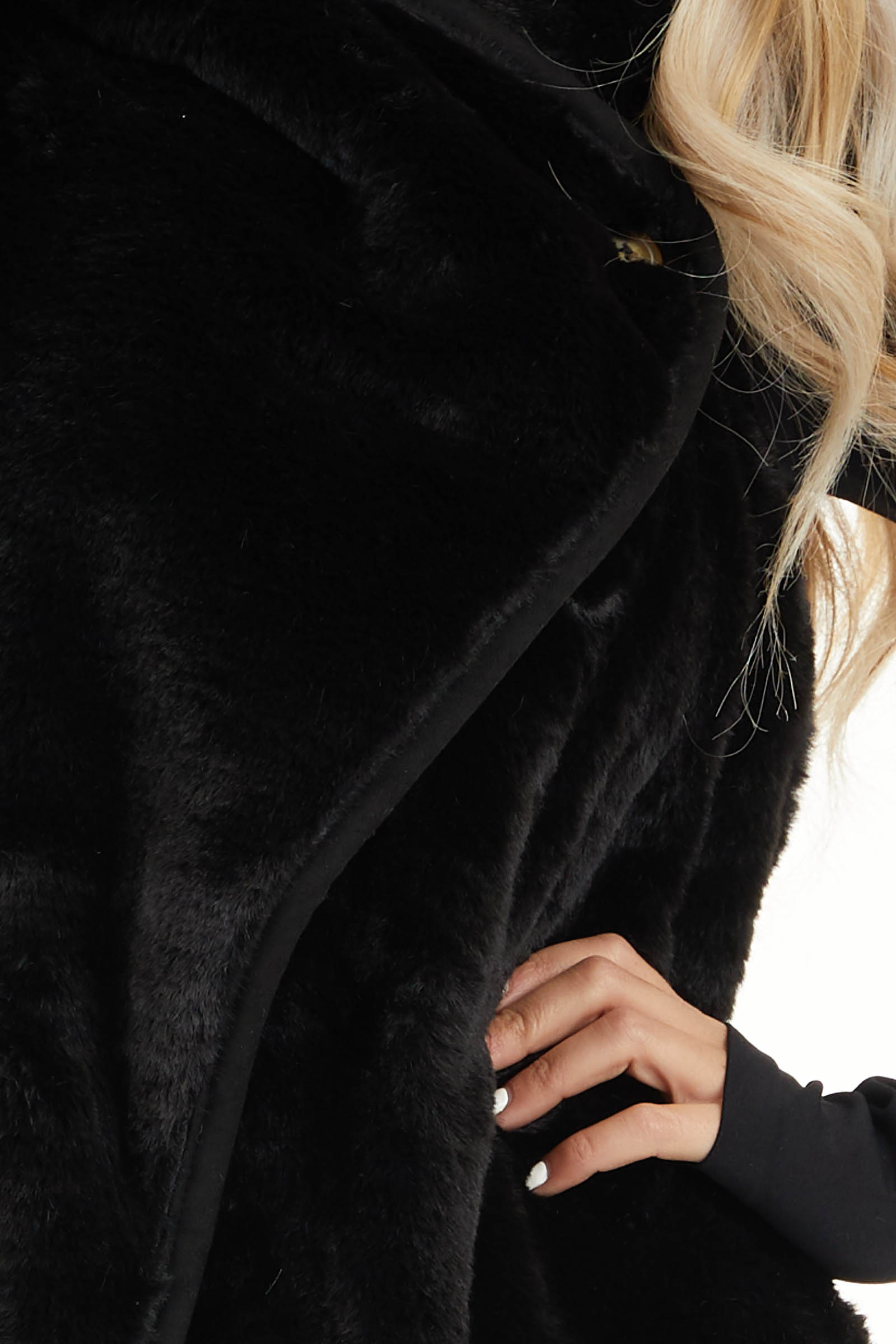 Black Furry Vest with Overlap and Button Detail detail