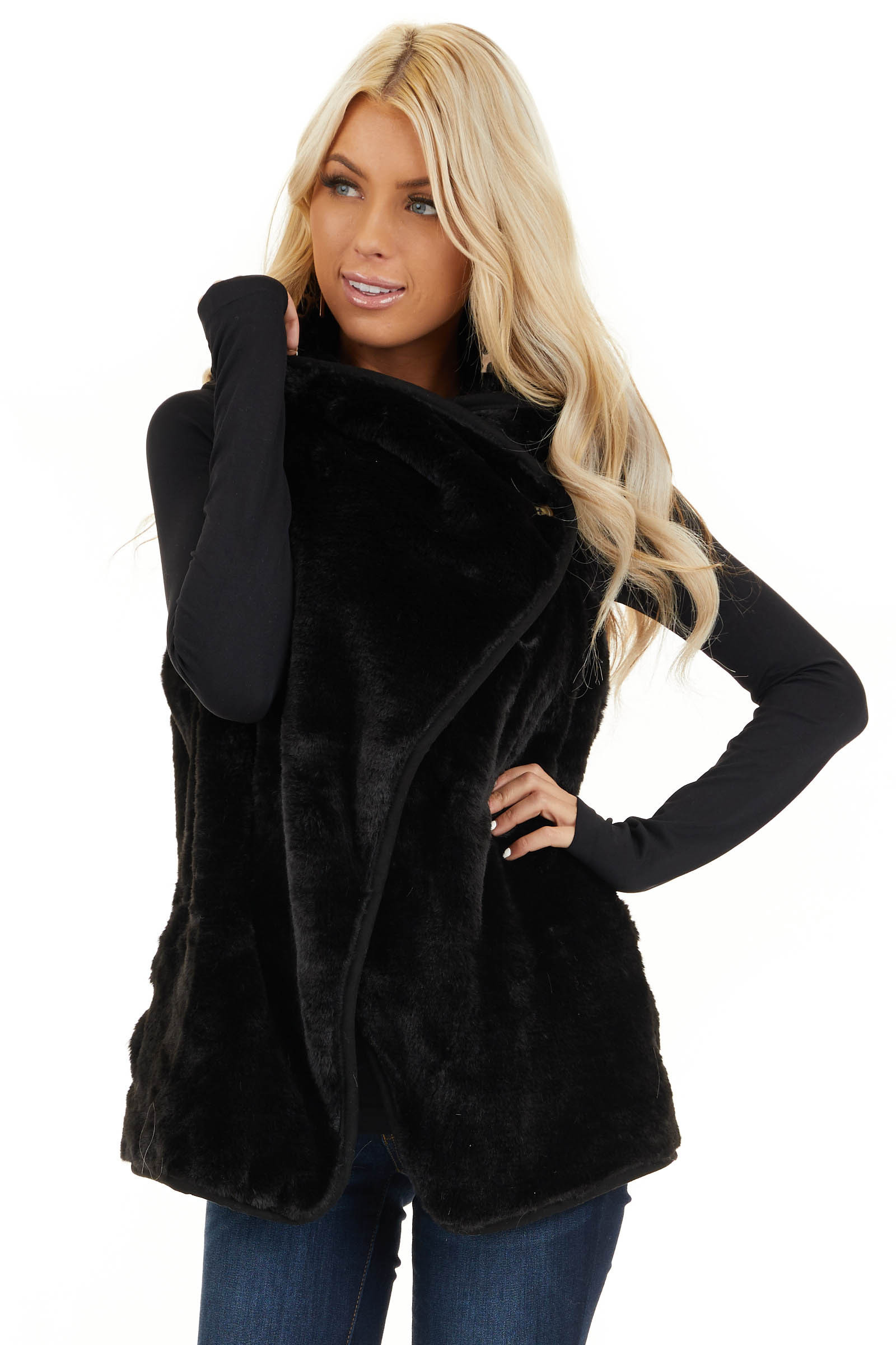 Black Furry Vest with Overlap and Button Detail front close up