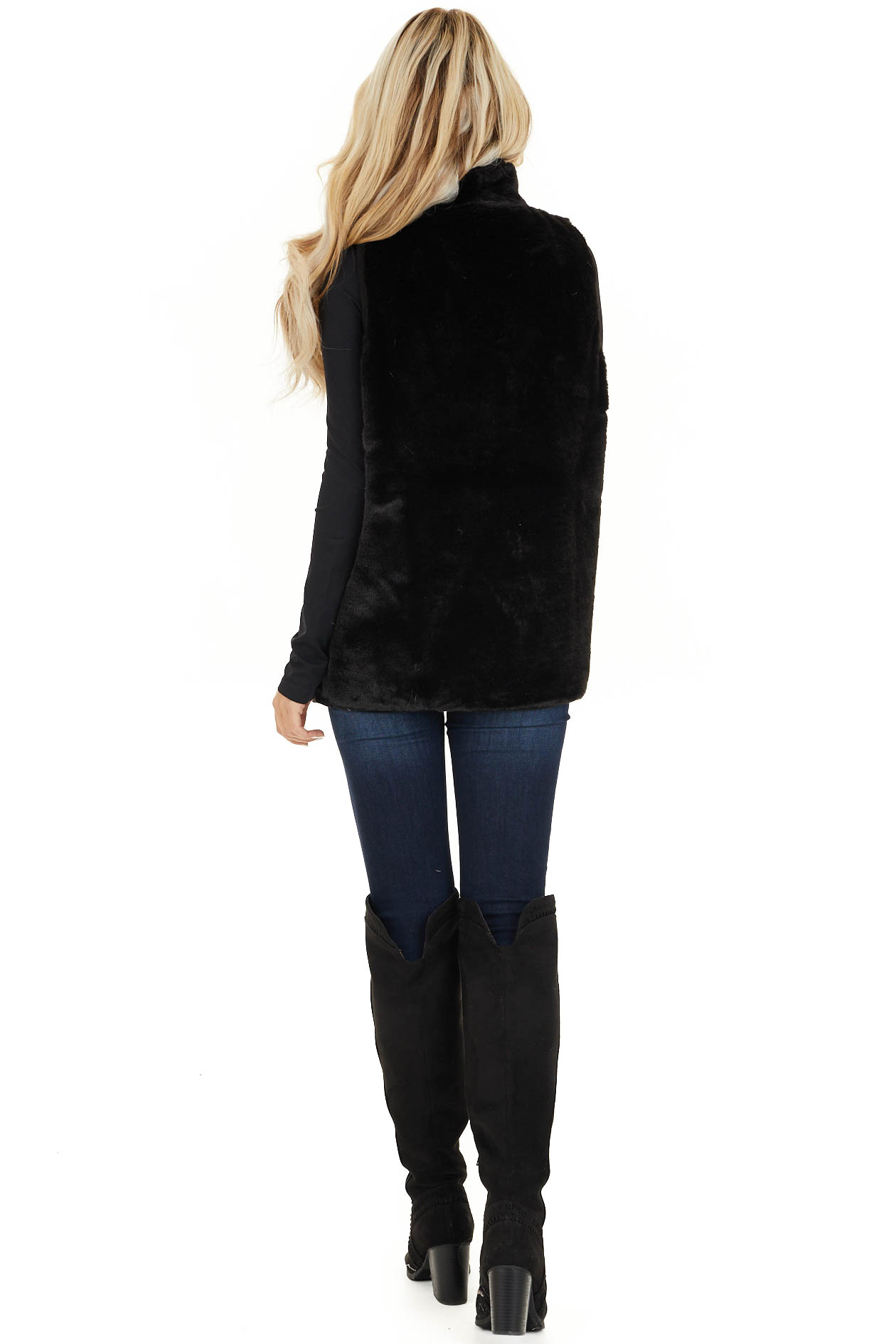 Black Furry Vest with Overlap and Button Detail back full body