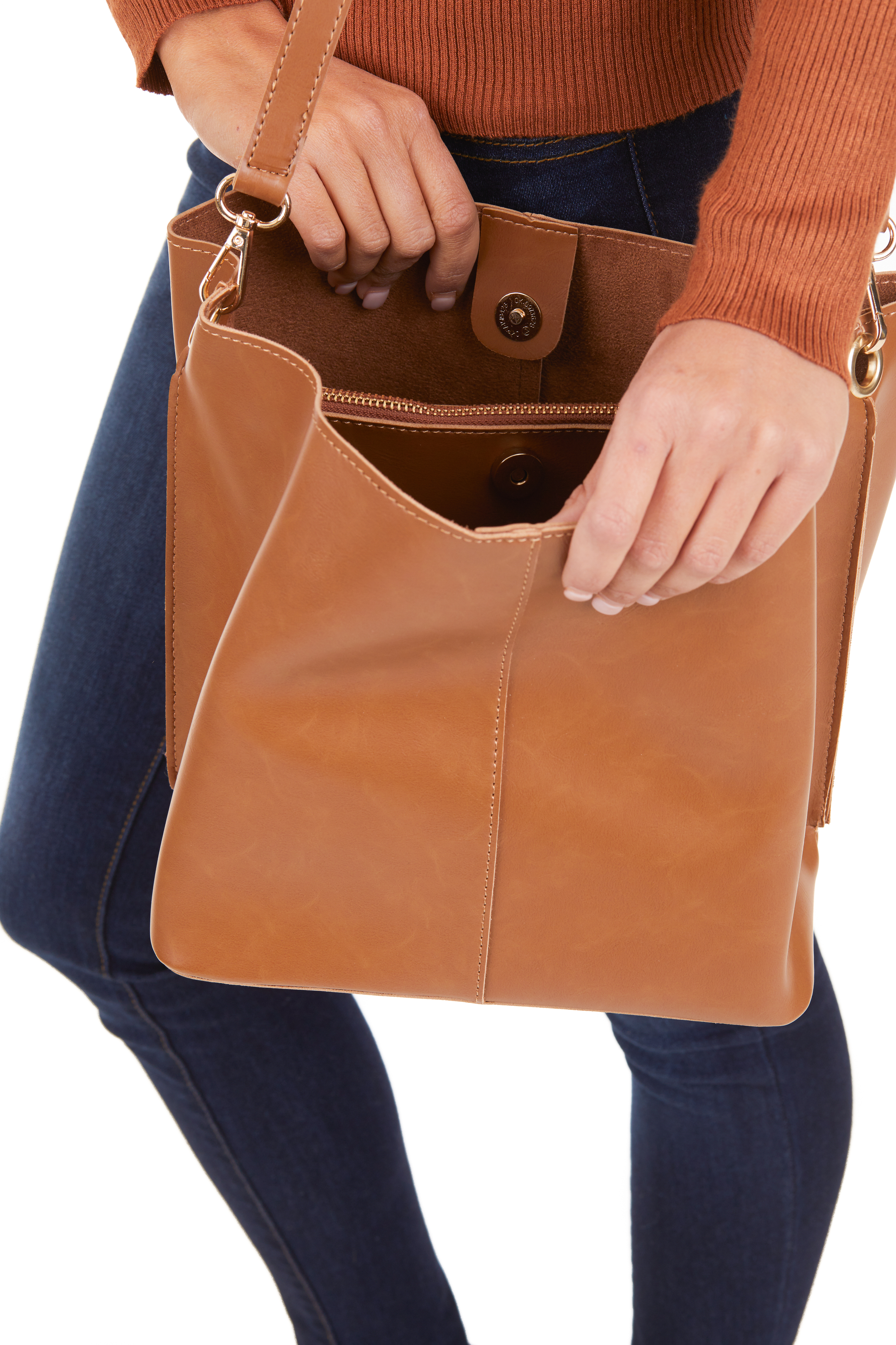 Cognac Faux Leather Tote Bag with Over the Shoulder Strap