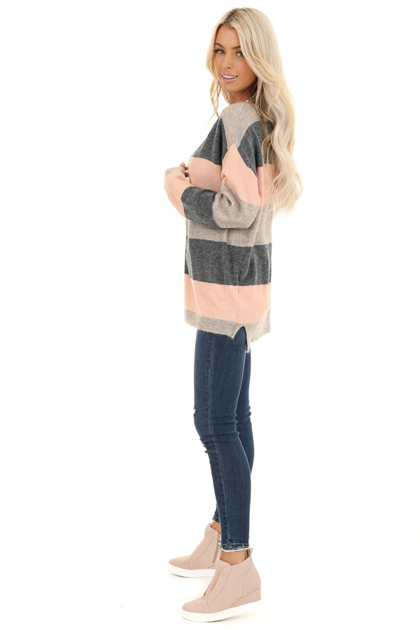 Blush and Charcoal Striped Lightweight Long Sleeve Sweater side full body