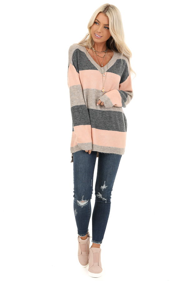 Blush and Charcoal Striped Lightweight Long Sleeve Sweater front full body