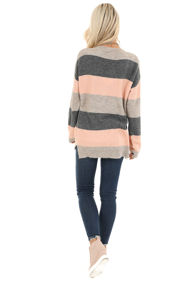 Blush and Charcoal Striped Lightweight Long Sleeve Sweater back full body