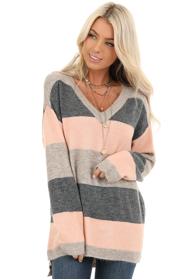 Blush and Charcoal Striped Lightweight Long Sleeve Sweater front close up
