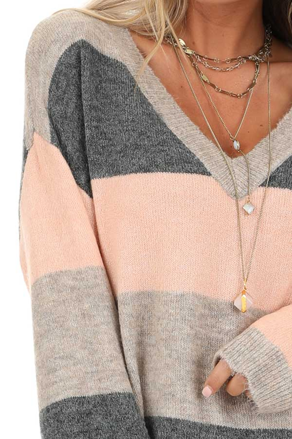 Blush and Charcoal Striped Lightweight Long Sleeve Sweater detail
