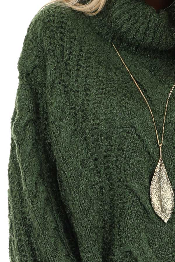 Jade Long Sleeve Cable Knit Sweater with Turtleneck detail