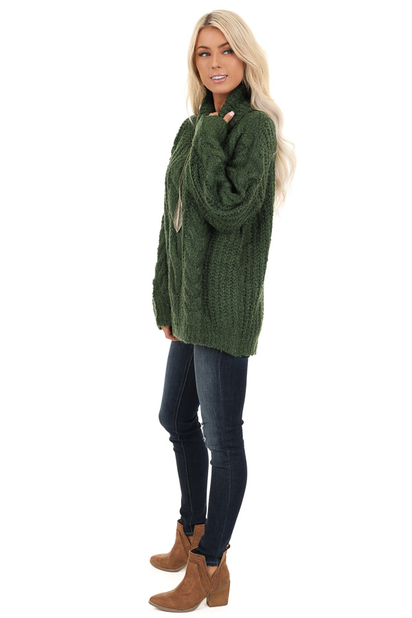 Jade Long Sleeve Cable Knit Sweater with Turtleneck side full body