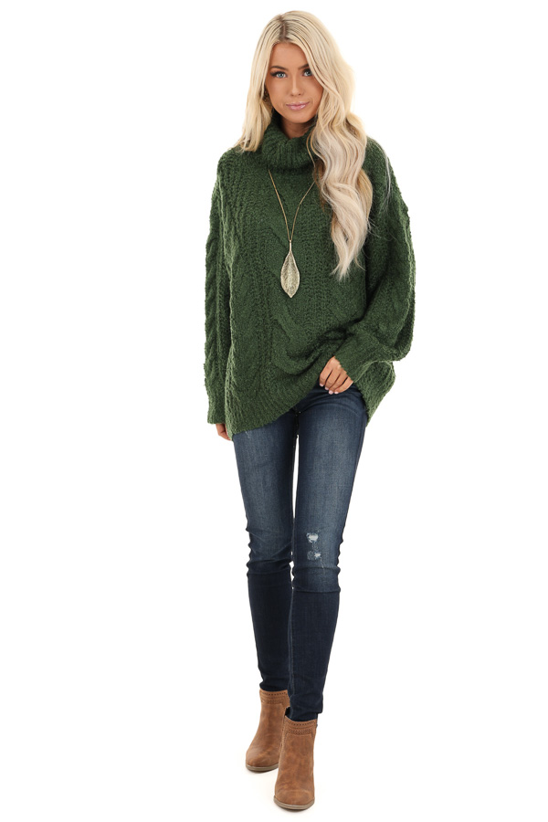 Jade Long Sleeve Cable Knit Sweater with Turtleneck front full body