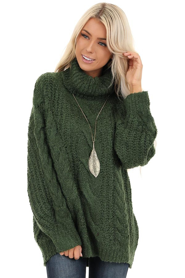Jade Long Sleeve Cable Knit Sweater with Turtleneck front close up