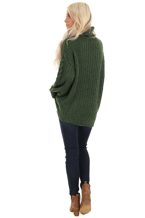 Jade Long Sleeve Cable Knit Sweater with Turtleneck back full body
