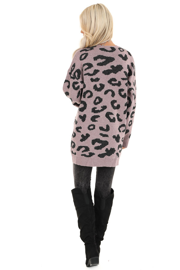 Lavender Leopard Print Open Front Cardigan with Pockets back full body