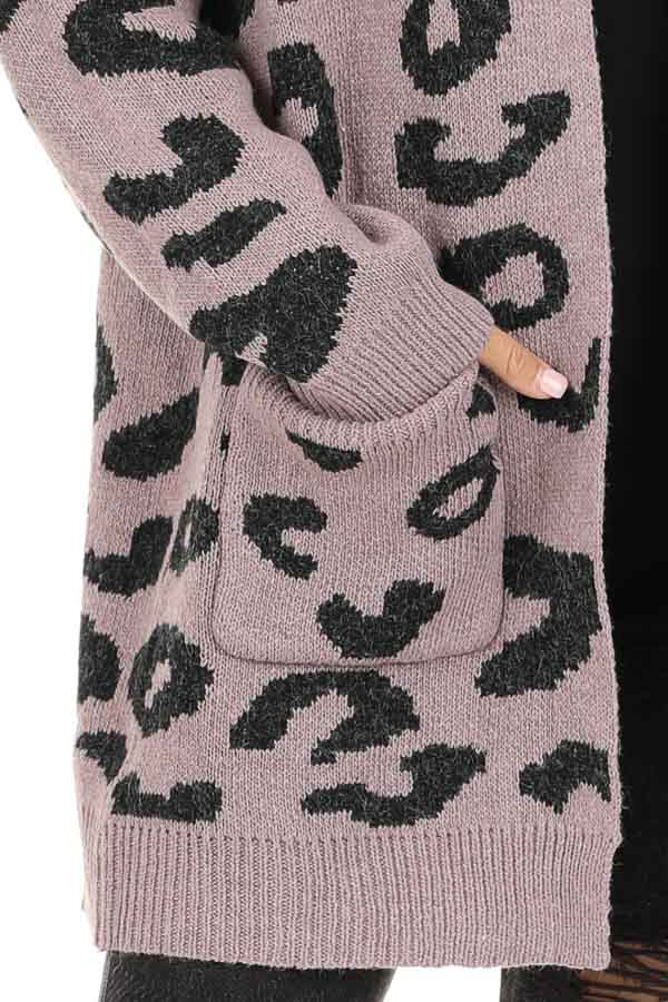 Lavender Leopard Print Open Front Cardigan with Pockets detail