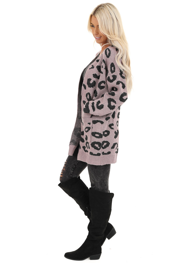 Lavender Leopard Print Open Front Cardigan with Pockets side full body