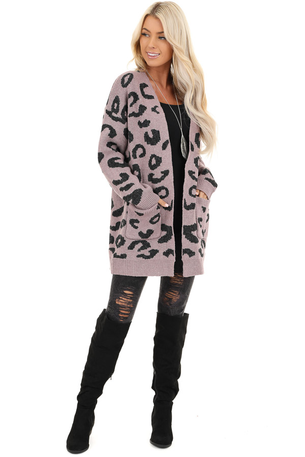 Lavender Leopard Print Open Front Cardigan with Pockets front full body