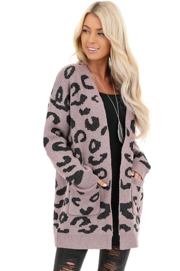 Lavender Leopard Print Open Front Cardigan with Pockets front close up