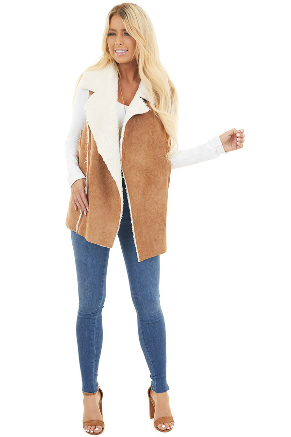 Camel and Ivory Faux Suede Cozy Vest with Pockets