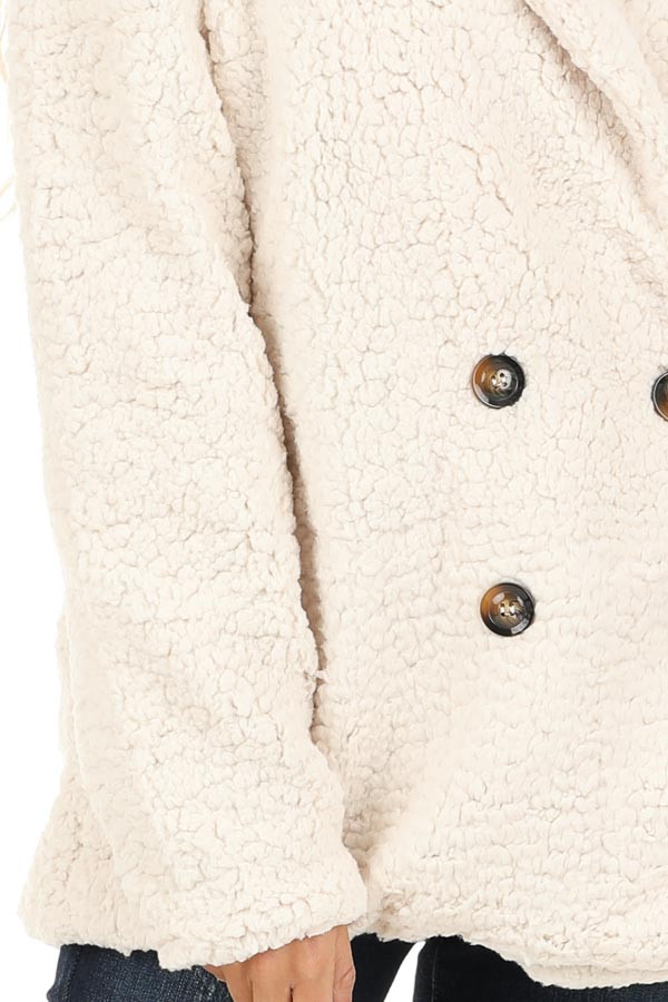 Cream Fluffy Button Up Collared Jacket with Pockets detail