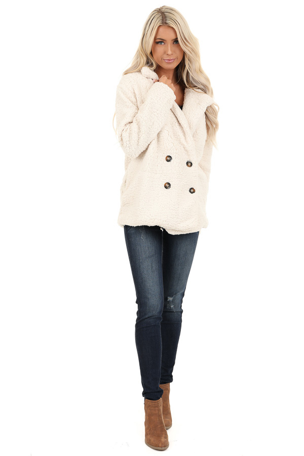 Cream Fluffy Button Up Collared Jacket with Pockets front full body