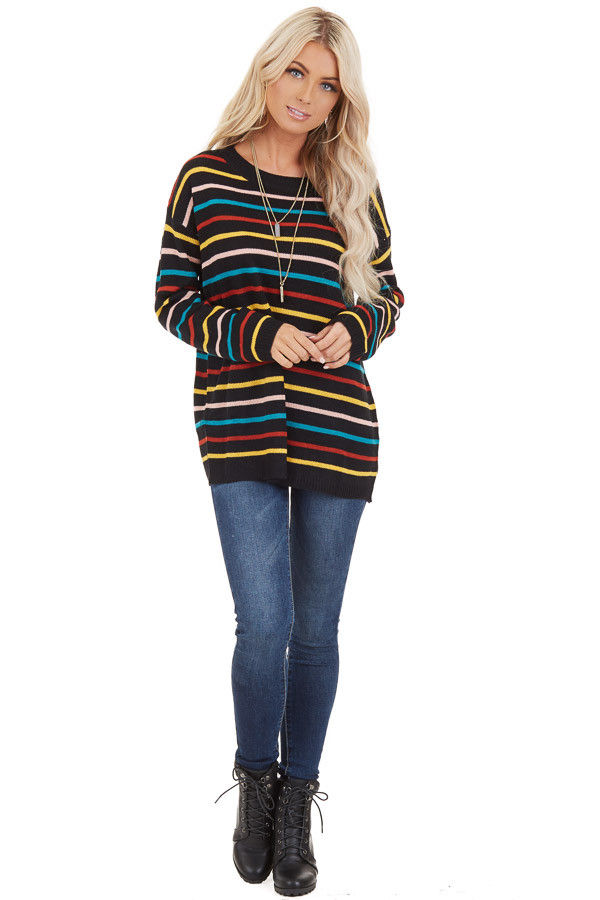 Black with Multicolor Stripes Long Sleeve Sweater Top front full body