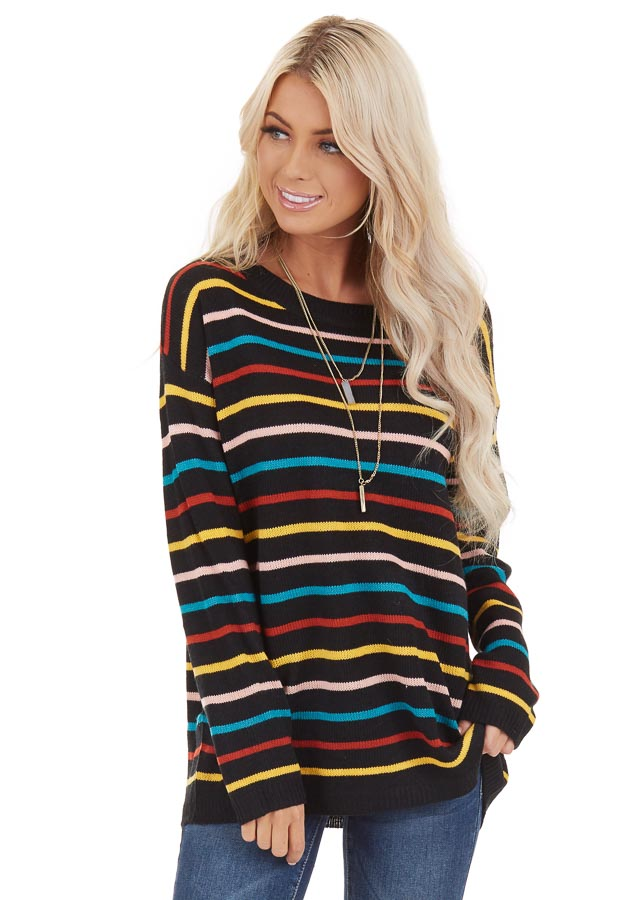 Black with Multicolor Stripes Long Sleeve Sweater Top front close up