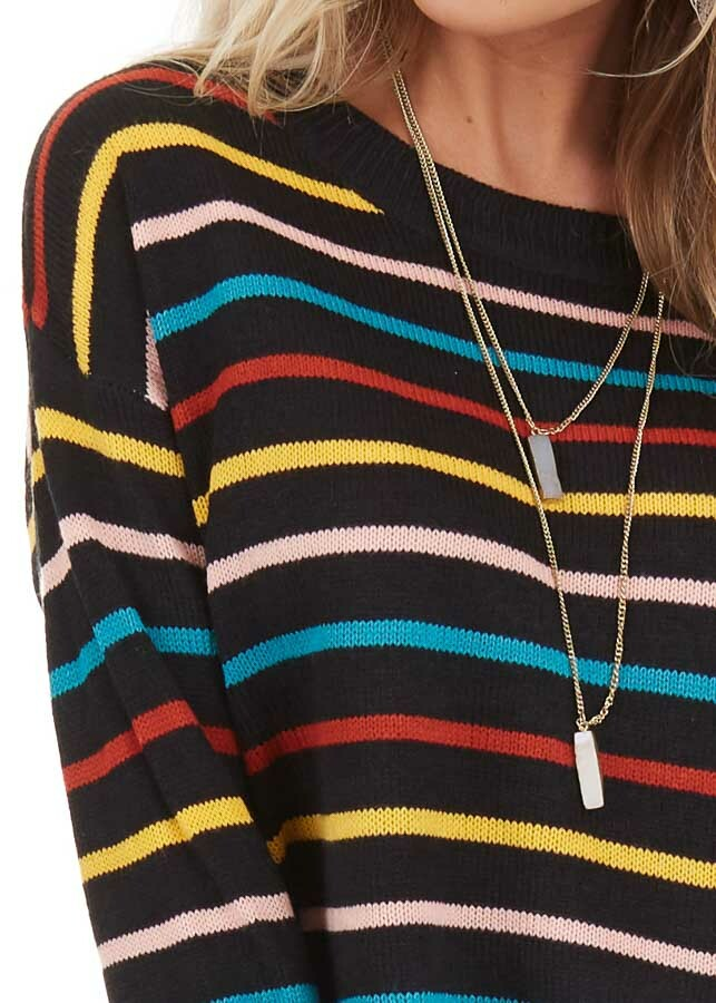 Black with Multicolor Stripes Long Sleeve Sweater Top detail