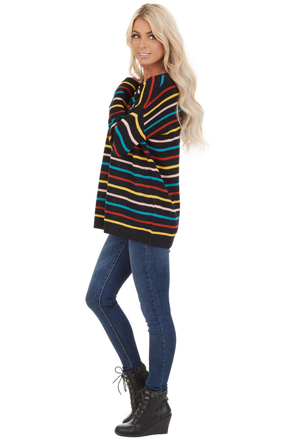 Black with Multicolor Stripes Long Sleeve Sweater Top side full body