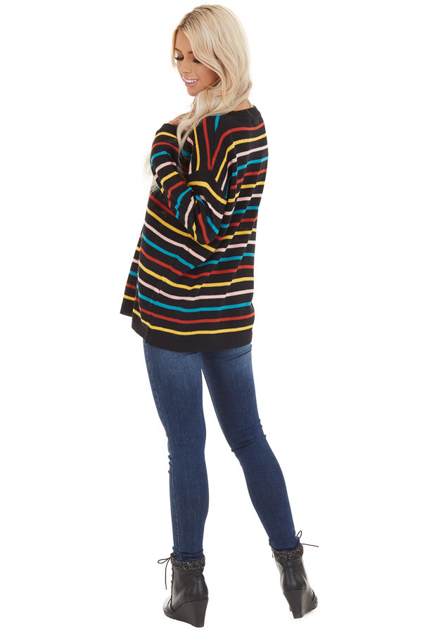 Black with Multicolor Stripes Long Sleeve Sweater Top back full body