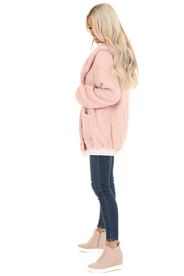 Blush Pink Super Soft Open Front Cardigan with Hood Detail side full body