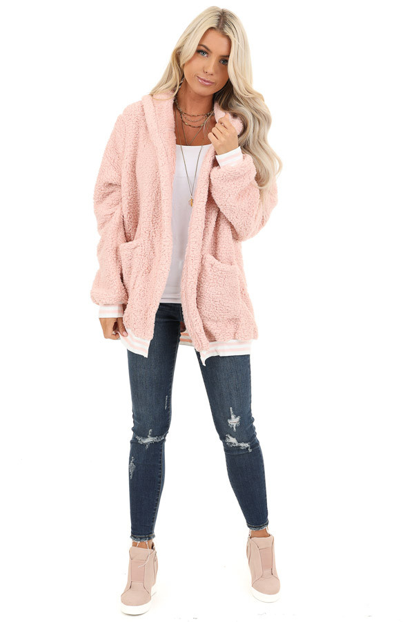 Blush Pink Super Soft Open Front Cardigan with Hood Detail front full body