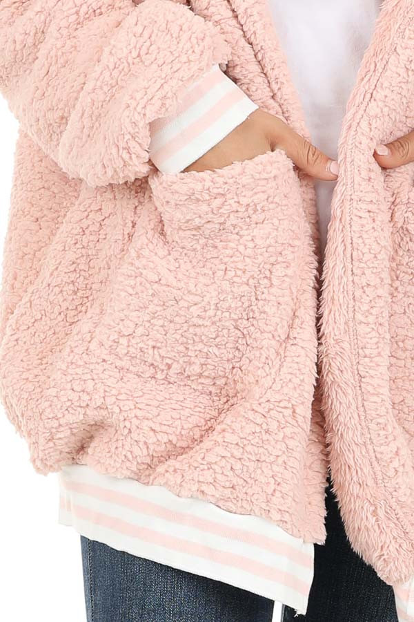 Blush Pink Super Soft Open Front Cardigan with Hood Detail detail