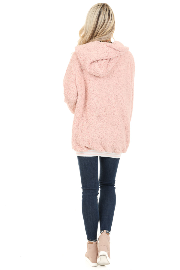 Blush Pink Super Soft Open Front Cardigan with Hood Detail back full body