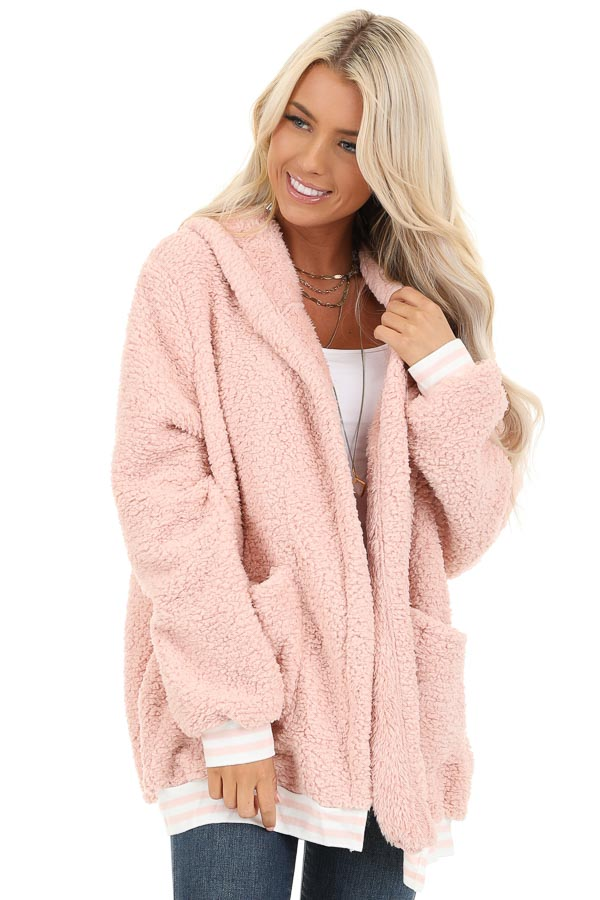 Blush Pink Super Soft Open Front Cardigan with Hood Detail front close up