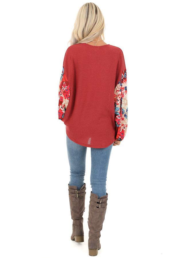 Wine Surplice Waffle Knit Top with Floral Long Sleeves back full body