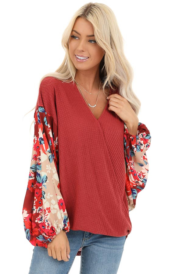 Wine Surplice Waffle Knit Top with Floral Long Sleeves front close up