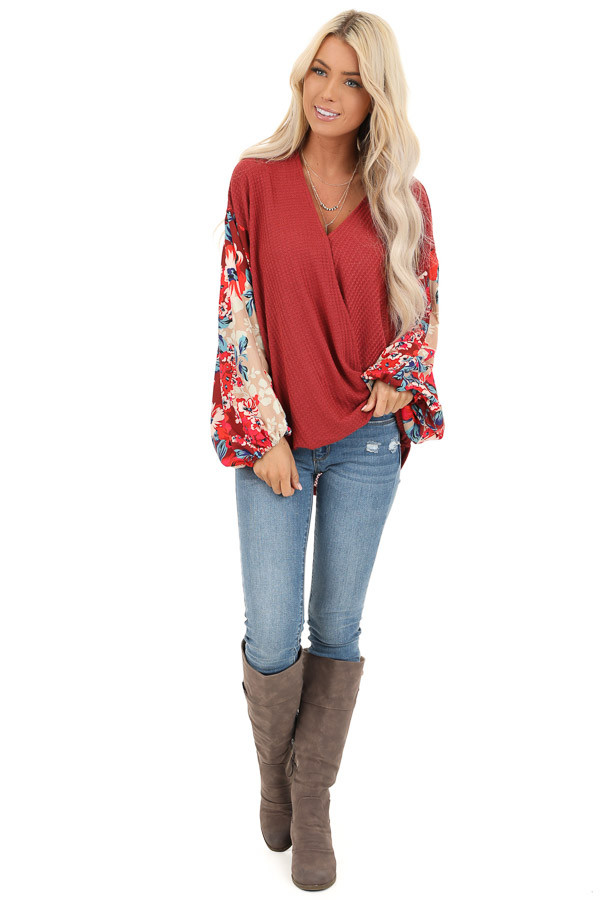 Wine Surplice Waffle Knit Top with Floral Long Sleeves front full body