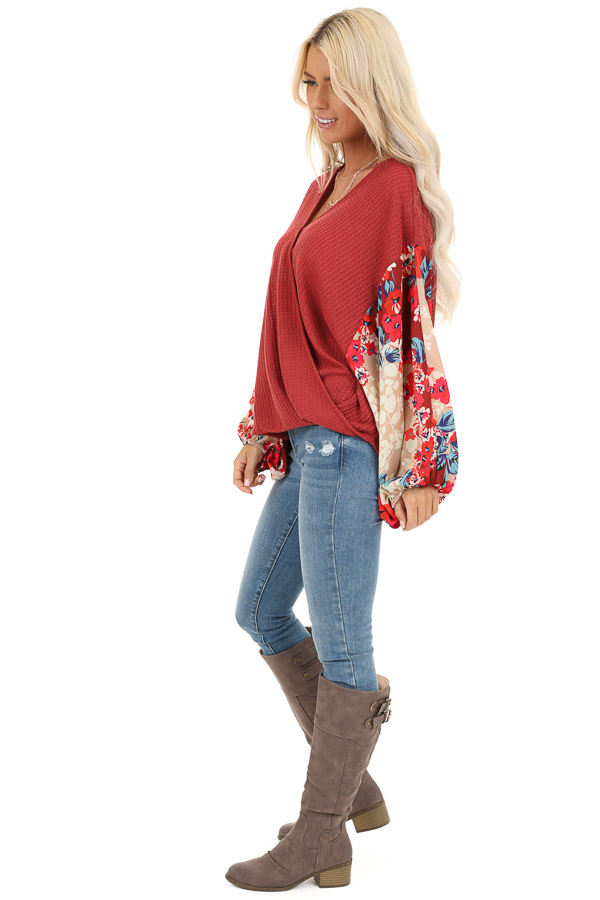 Wine Surplice Waffle Knit Top with Floral Long Sleeves side full body