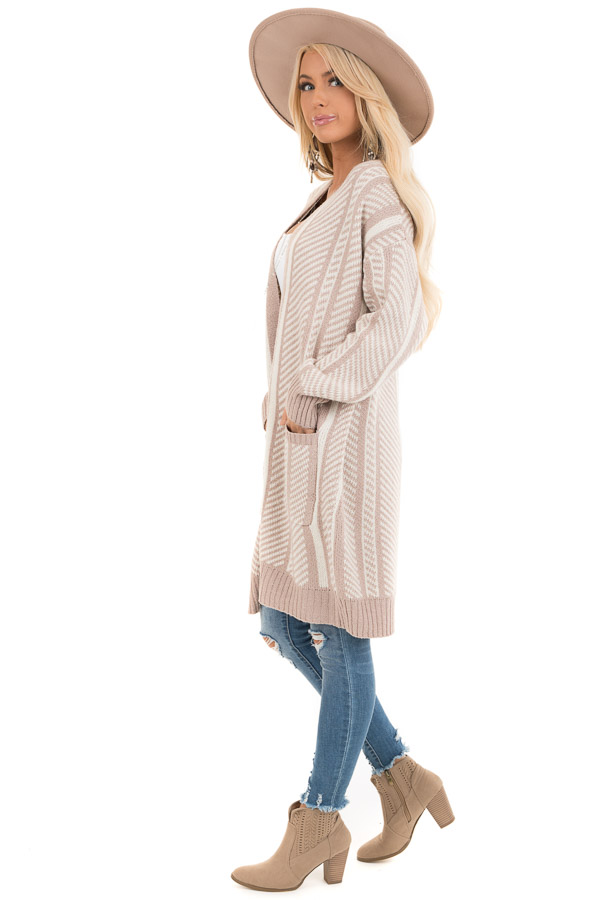 White and Dusty Mauve Striped Open Front Cardigan side full body