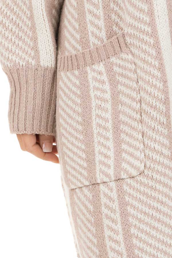 White and Dusty Mauve Striped Open Front Cardigan detail