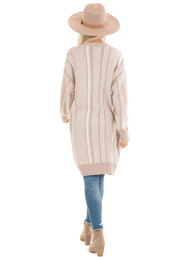 White and Dusty Mauve Striped Open Front Cardigan back full body