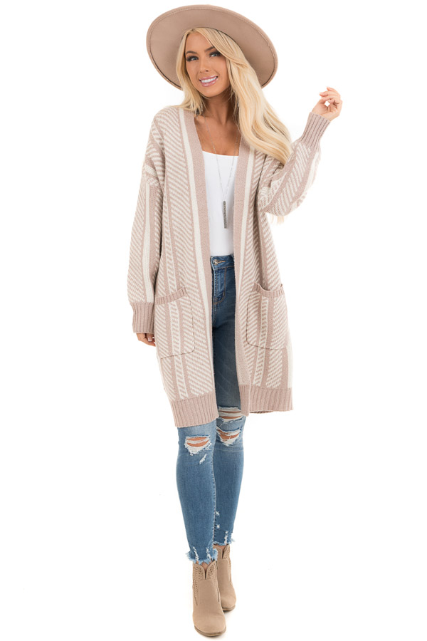 White and Dusty Mauve Striped Open Front Cardigan front full body