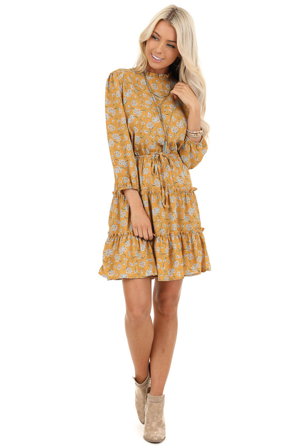 Mustard Floral Print High Neck Dress with Ruffle Details front full body