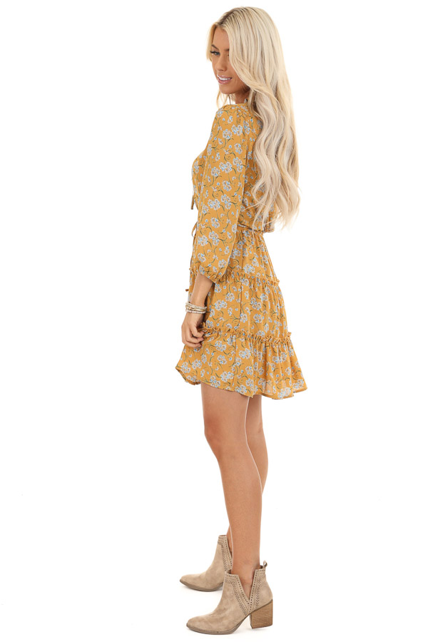 Mustard Floral Print High Neck Dress with Ruffle Details side full body