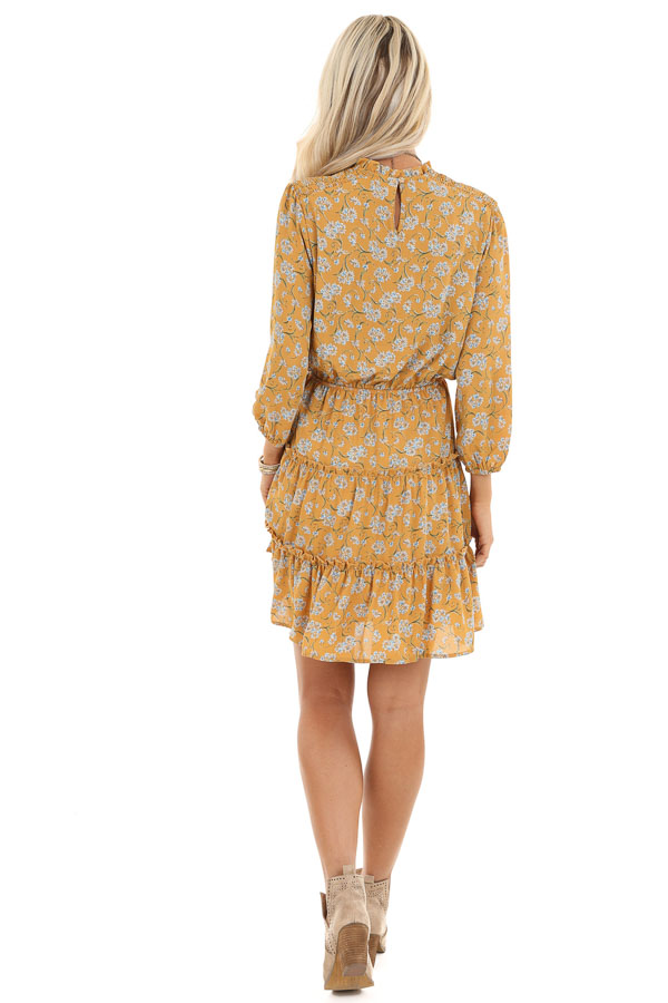 Mustard Floral Print High Neck Dress with Ruffle Details back full body