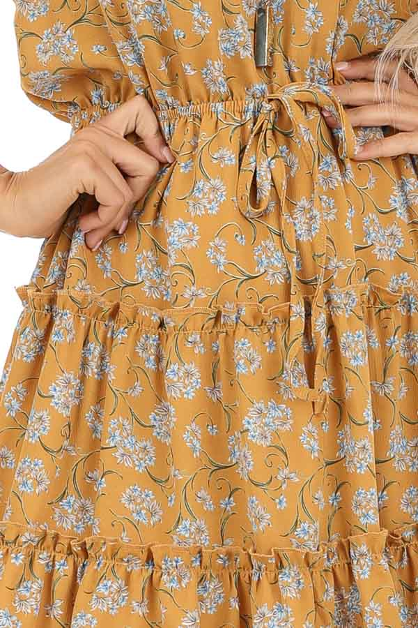 Mustard Floral Print High Neck Dress with Ruffle Details detail
