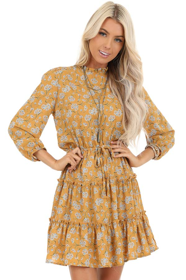 Mustard Floral Print High Neck Dress with Ruffle Details front close up