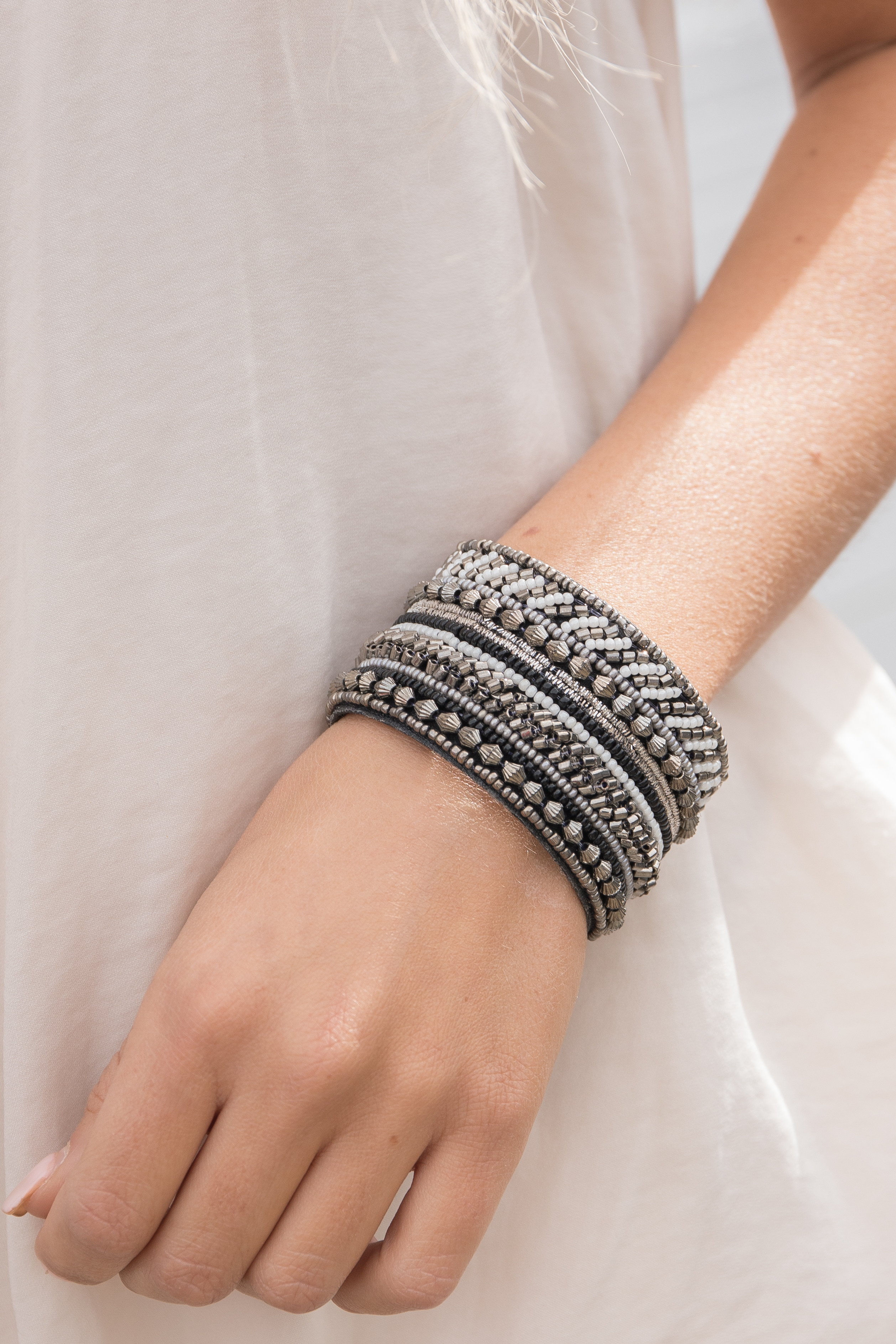 Black Ivory and Gun Metal Beaded Cuff Bracelet