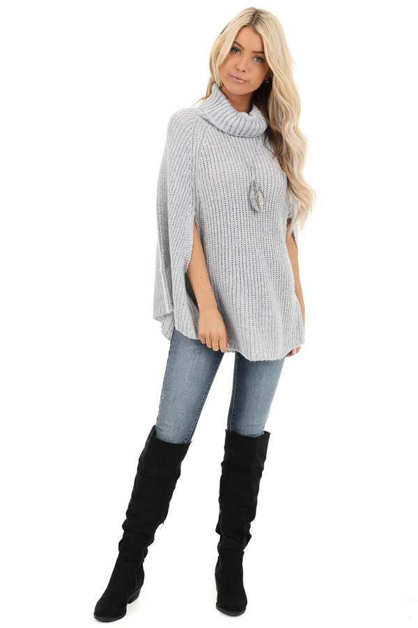 Pale Grey Chunky Knit Turtleneck Poncho Top front full body