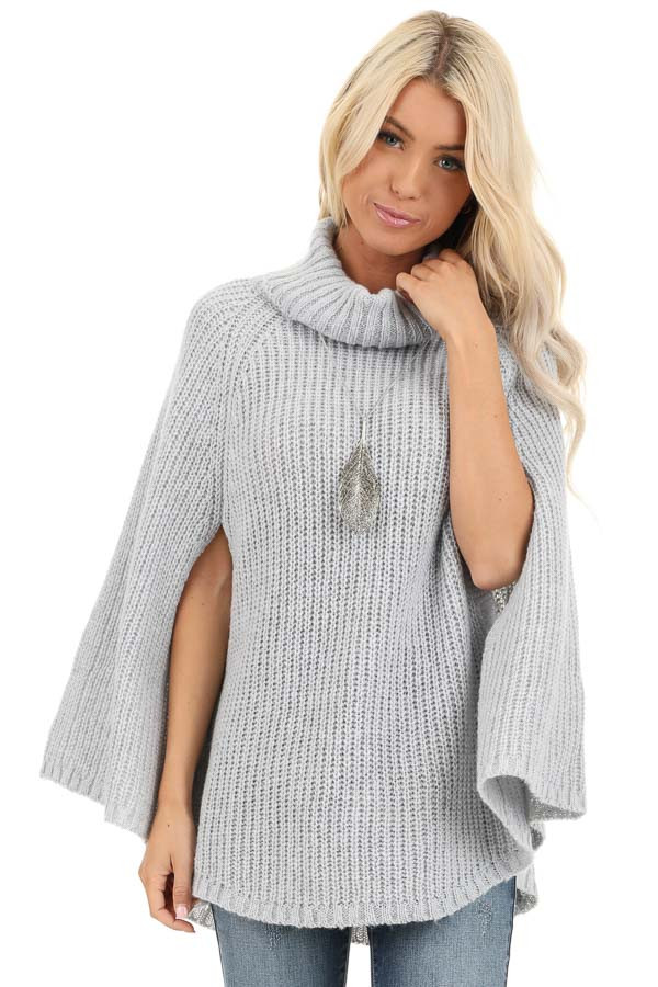 Pale Grey Chunky Knit Turtleneck Poncho Top front close up