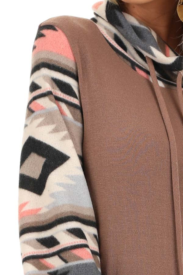 Mocha Aztec Print Cowl Neck Sweater Top with Kangaroo Pouch detail